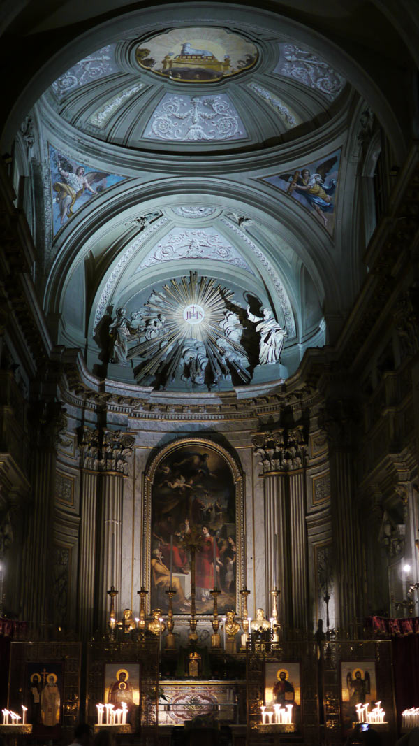 Inside the church opposite the Trevi Fountain at night
