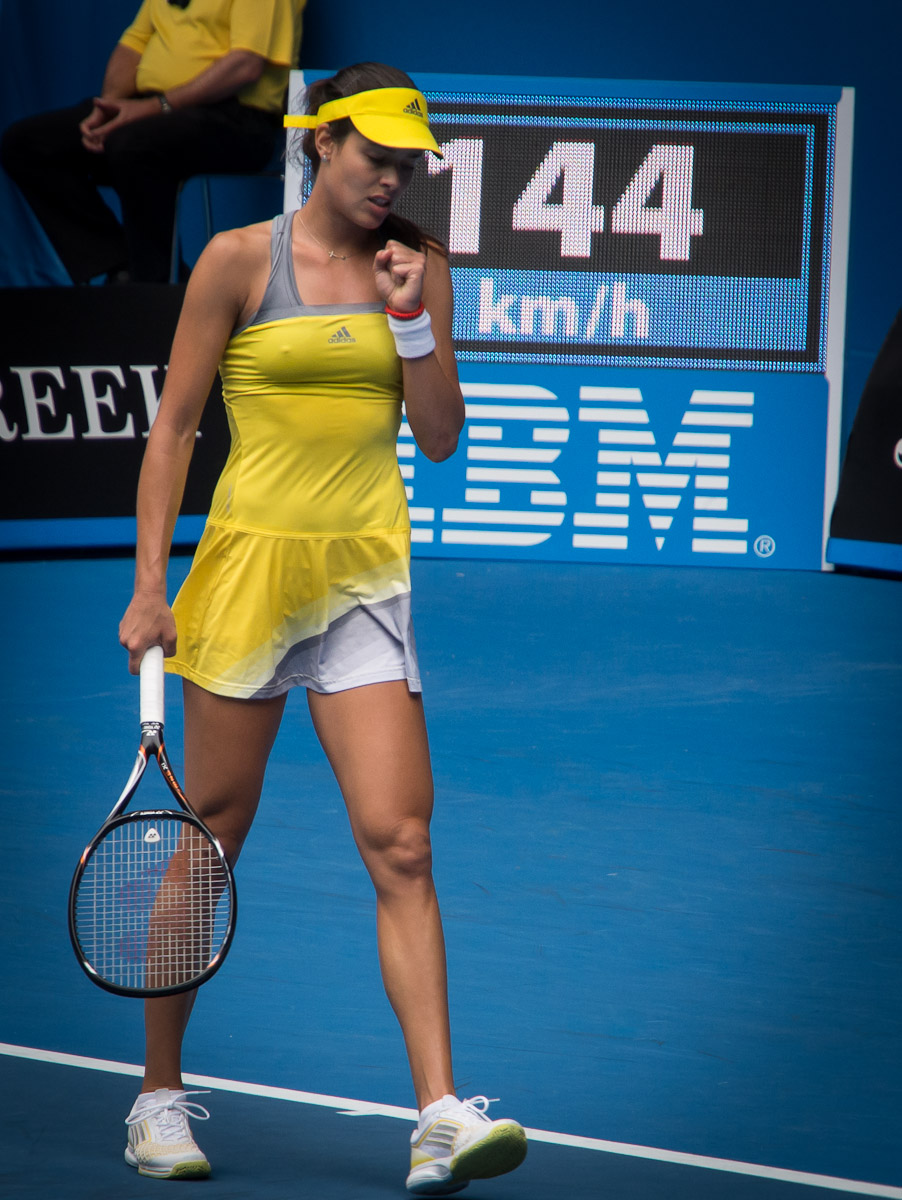 Ana Ivanovic pumped up as she powers her way over fellow Serbian Jelena Jankovic