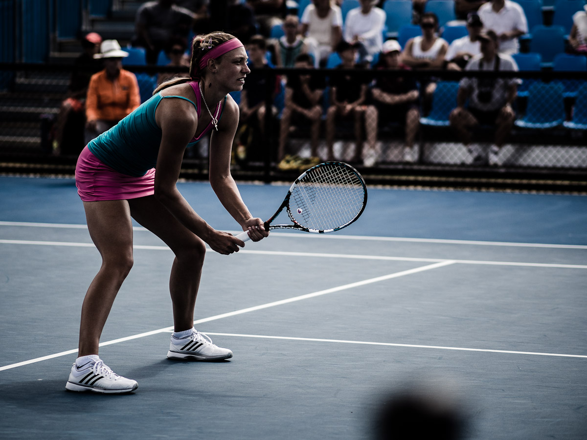 Belgian player, Yanina Wickmayer in a doubles event 